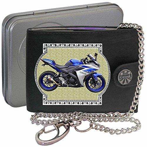 Yamaha YZF R3 Blau Bild auf KLASSEK Marken RFID Herren Geldbörse Portemonnaie Echtes Leder mit Kette Motorrad Bike Zubehör Geschenk mit Metall Box NICHT OFFIZIELLE YAMAHA Produkte E8OUqd