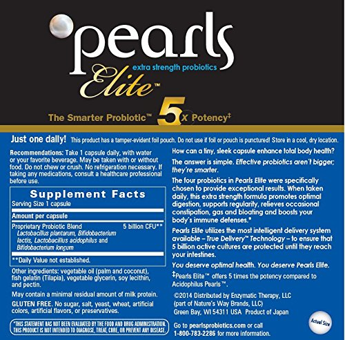 Pearls Elite High Potency Probiotics, 30 Capsules, From Enzy