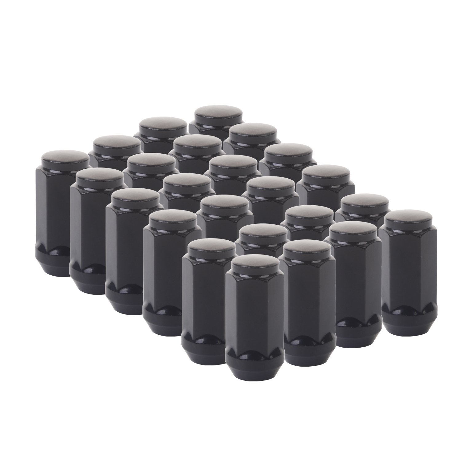 KV Black Bulge Lug Nuts Extended 45mm(1.77'') Tall 14mmx1.5Conical Cone Acorn Closed End set of 24pcs Installs with 19mm or 3/4'' Hex Socket for 6 Lug Wheels