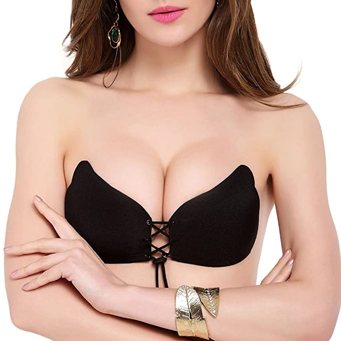 17e770c0e4 WOOMAYA Women s Snello Silicone Strapless Self Adhesive Invisible Push-up  with Drawstring Reusable Backless Bra