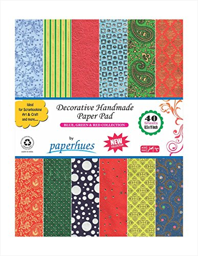 Paperhues Blue-Green-Red Celebration Collection 8.5×11 Pad, 40 Sheets. Decorative Specialty Handmade Origami Papers for Gift Wrap, Card Making, Scrap…