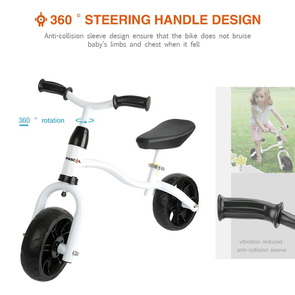 Fascol Bicicleta sin Pedales para Niños con Sillín Regulable de1 a 6 Años,Max Carga 40 kg,Blanco: Amazon.es: Bebé