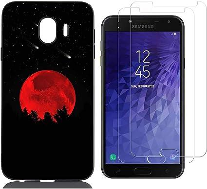 jrester Funda Samsung Galaxy J4 2018,Luna roja Flexible Suave Negro TPU Gel Silicona Smartphone Cascara Protectora para Samsung Galaxy J4 2018 (5,5