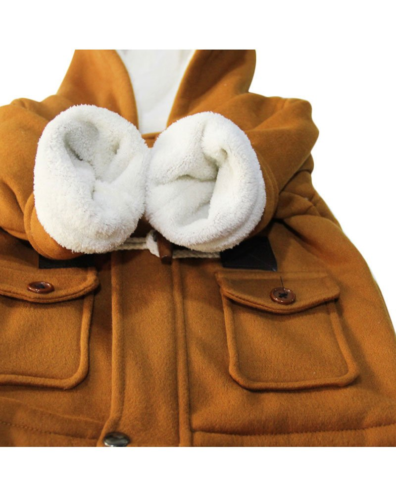 Ekaliy Winter Toddler Boy Kids Fleece Coats Jackets with Hoodies Khaki 4t by Ekaliy (Image #4)