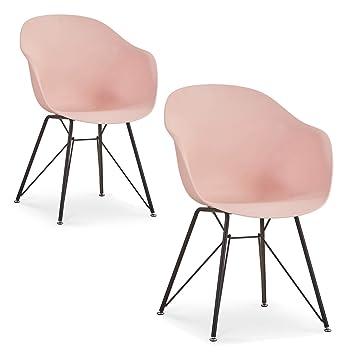 Lima Juego de 2 sillas con reposabrazos, estilo retro, para ...