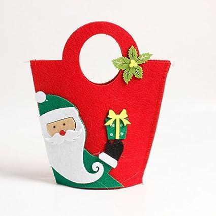 lnlyin Navidad Manzanas Funda decorativa navideña de bolsas de dulces para niños, Tela de fieltro