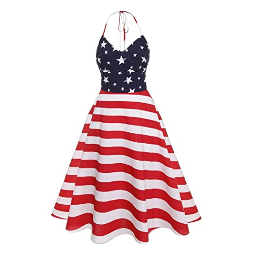 Women Dress,kaifongfu Lady Striped Dress Vintage Sleeveless V Neck Flag Printing Evening Party Prom