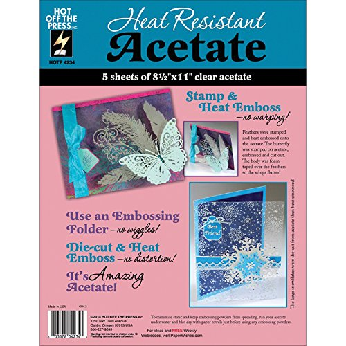 Hot Off The Press HTP4234 Heat Resistant Acetate, 8.5 by 11-Inch, 5-Pack (Sheet Acetate)
