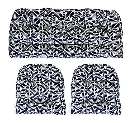 Resort Spa Home Decor 3 Piece Wicker Cushion Set - Indoor/Outdoor Navy Blue Nautical Rope Pattern Fabric Cushion for Wicker Loveseat Settee & 2 Matching Chair Cushions 2 Piece Settee