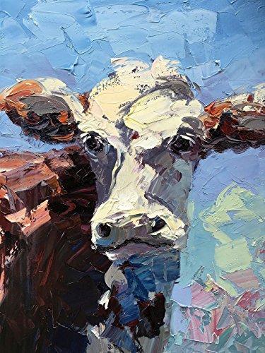 cow-art-prints-face-canvas-paper-folk-colorful-portrait-original-country-wall-art-home-decor-rustic-