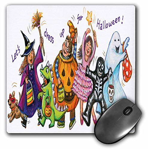 3dRose Anne Marie Baugh - Halloween - Cute Illustration of Halloween Trick Or Treaters - Mousepad -