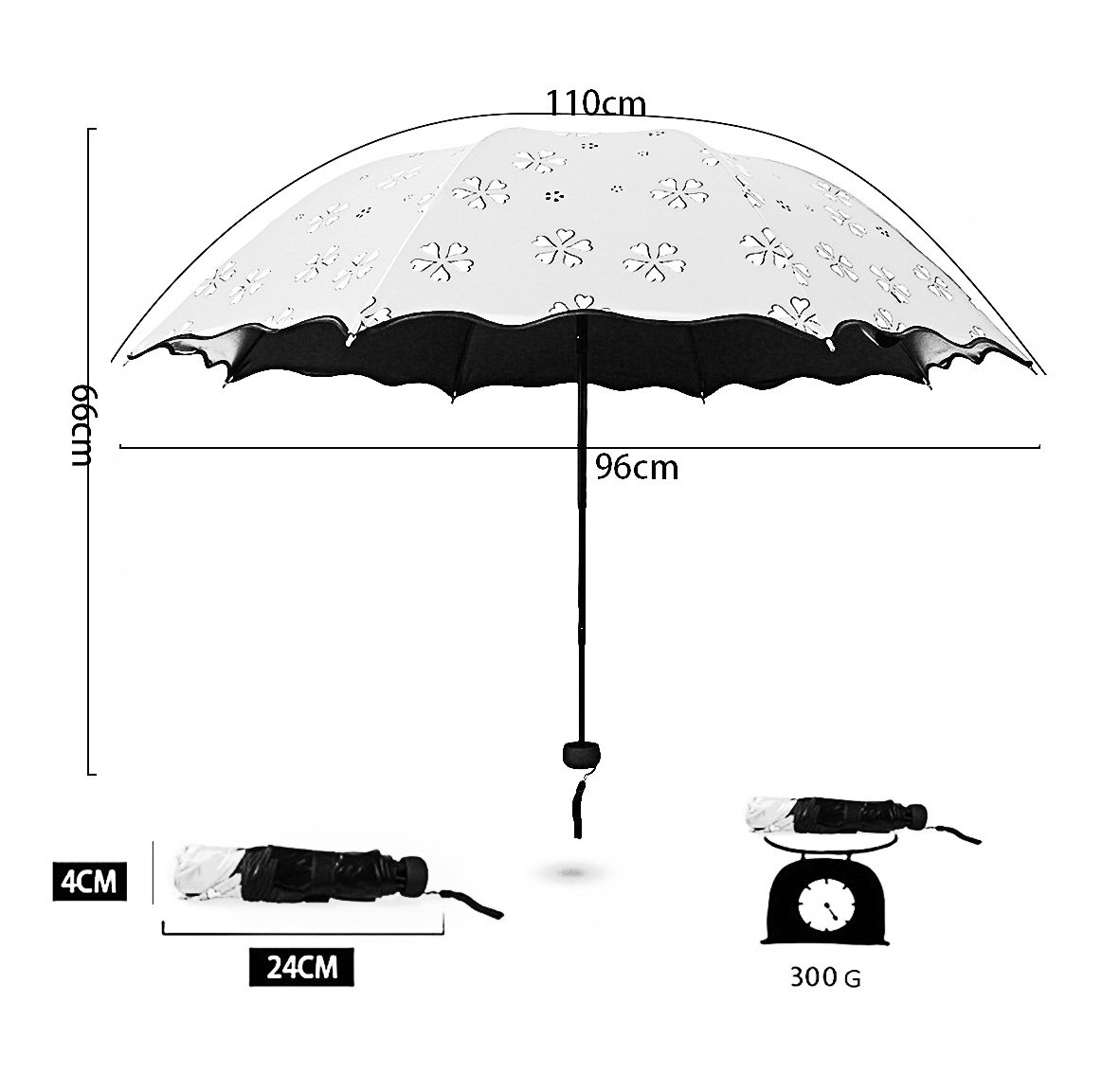 Travel Compact Color Change Umbrella Windproof,Folding Parasol Umbrella,Light Portable Sun Umbrellas with UV Protection,Outdoor Rain Umbrella Quick Dry Easy Carry for Women Girls Kids (Creamy White) by SUOWO (Image #3)