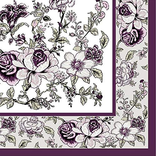 Disposable Paper Eggplant Bountiful Blossoms Lunch Napkins, Wedding, Bridal Shower, Birthday Party, Decoration Supplies, Holidays, Folded Size 6.5 x 6.5 Inches, 3-Ply, 20 ct (PACK OF 6)