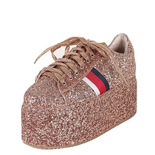 Cape Robbin Womens Round Toe Glitter High Flat Platform Wedge Heel Lace Up Fashion Sneakers Booties 8.5 Rose Gold Glitter High Heel Platform Shoes