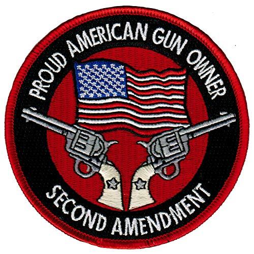 Proud American Gun Owner 2nd Amendment Embroidered Patch Single Action Handgun
