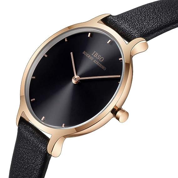 Amazon.com: Women Leather Strap Round Watch Fashion Simple Ultra-Thin Quartz Analog Ladies Elegant Wristwatch (1001 Black): Watches