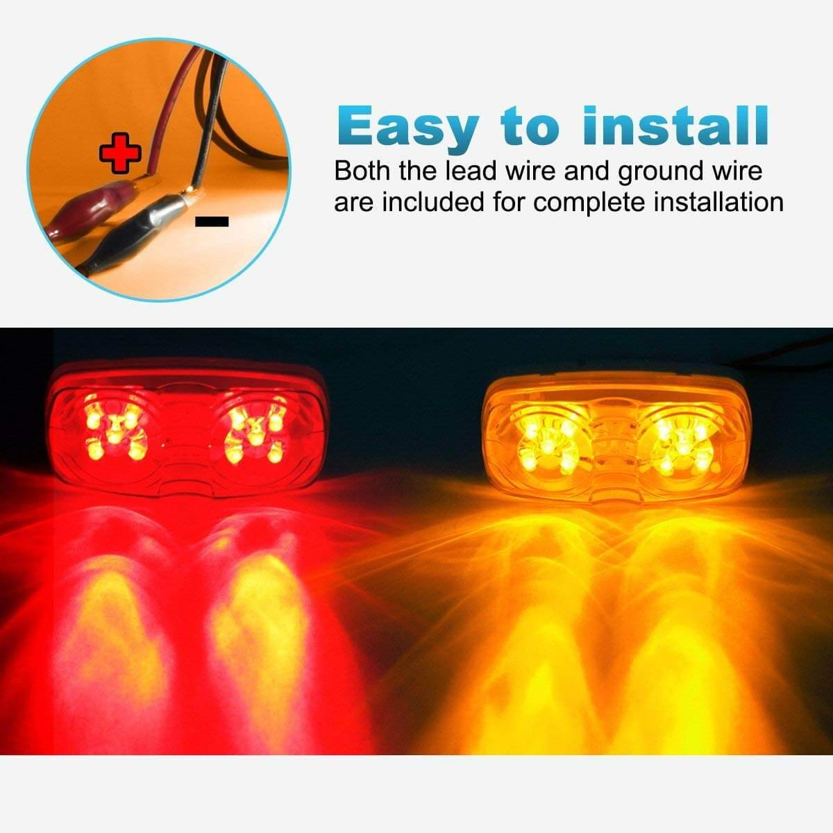Koya 13pcs Trailer Marker Led Light Double Bullseye Clearance Side With Reflector 2 Wire Amber Red 10led Automotive