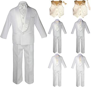Baby Kids Child Kid Toddler Boy Teen Formal Wedding Party White Shawl Lapel Suit Set Brown Satin Vest /& Bow Tie Sm-20