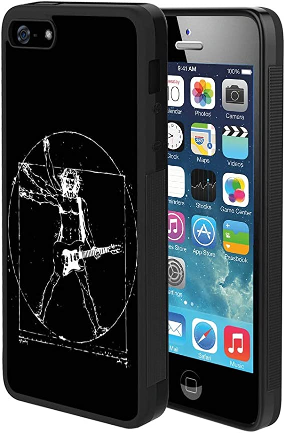 Amazon Com Pingge Iphone 5 Iphone 5s Iphone Se Case Homo Vitruvianus Guitar Slim Rectangle Full Body Shockproof Protective Cellphone Case Black Frame Case For Iphone 5 5s Se