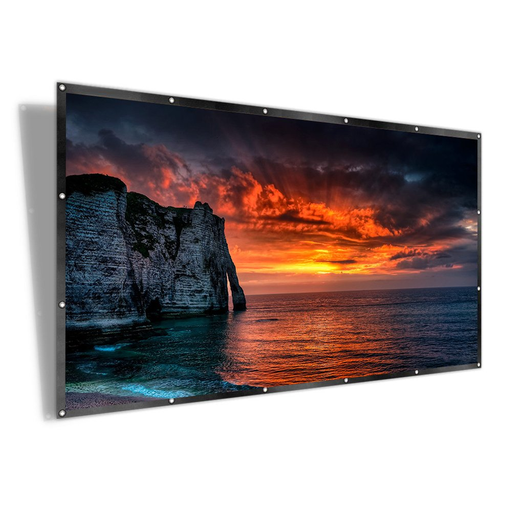 RELEE 100 inch Projector Screen 16:9 HD Foldable Anti-Crease Outdoor Indoor Portable Projection Movies Screen for Home Theater Support Double Sided Projection (100inch)