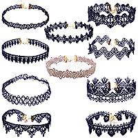 Hunputa 10 Pieces Choker Necklace Set Stretch Velvet Classic Gothic Tattoo Lace Flower Choker