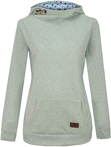TOPKEAL Hoodie Pullover Damen Herbst Winter Kapuzenpullover Reine Farbtasche Sweatshirt Winterpullover Lässige Jacke Mantel Tops Mode 2019