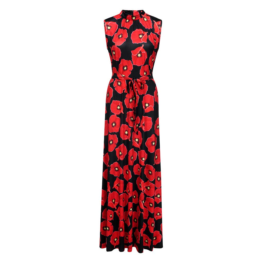 Women's Elegent O-Neck A-line Dress Casual Floral Vintage Evening Party Long Dress (Black, S) by Sihand (Image #3)