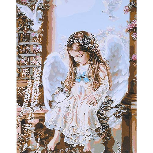 (Frameless DIY Digital Oil Painting 16 20'' Little Angel Hand-Painted Cotton Canvas Paint By Number Kit Home Office Wall Art Paintings Decor)