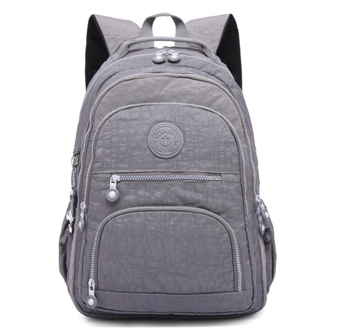 Nylon Casual Travel Daypack Lightweight Sports Laptop Backpack Purse for Women Waterproof Medium Work College School Bag for Girls (Grey)