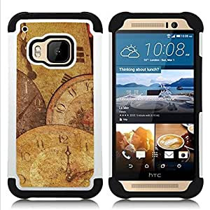 Dragon Case- Dise?¡Ào de doble capa pata de cabra Tuff Impacto Armor h??brido de goma suave de silicona cubierta d FOR HTC ONE M9- MODERN SPIRITUAL TIME ARTWORK CLOCK WATCH