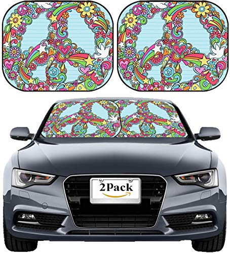 - MSD Car Sun Shade Windshield Sunshade Universal Fit 2 Pack, Block Sun Glare, UV and Heat, Protect Car Interior, Image ID: 6807571 Hand Drawn Psychedelic Groovy Peace Sign and Dove Notebook Doodles on