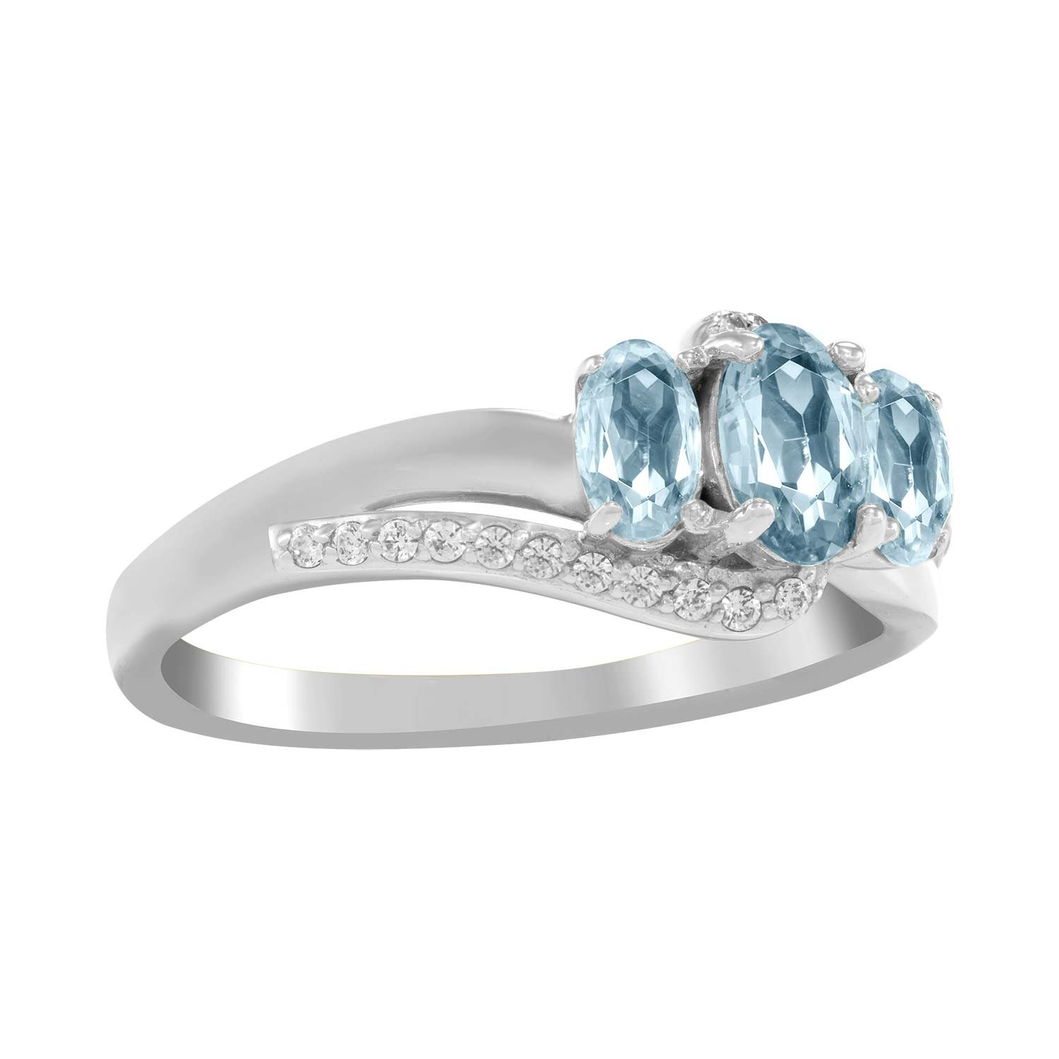 ArtCarved Beauty Custom Simulated Birthstone Womens Ring Sterling Silver Size 11.5 LQTRIO-SS-S-03-11.5