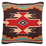 Throw Pillow Covers, 18 X 18, Hand Woven in Southwest and Native American Styles. Hand Crafted Western Decorative Pillow Cases in Wool. (Mayan Spirit 21)