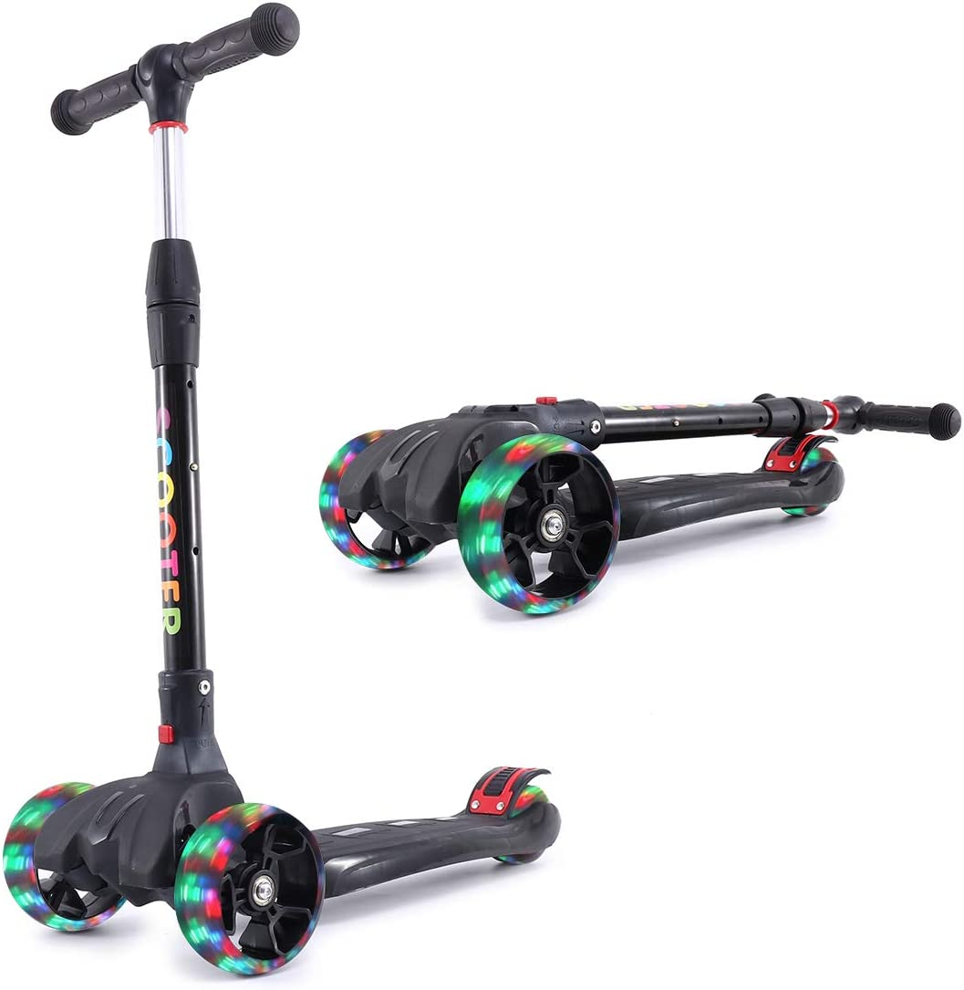 Eatao Kick Scooter for Kids with Led Flashing Wheels for Boys or Girls Adjustable Height Extra Wide Deck Kick Scooter Best Gifts