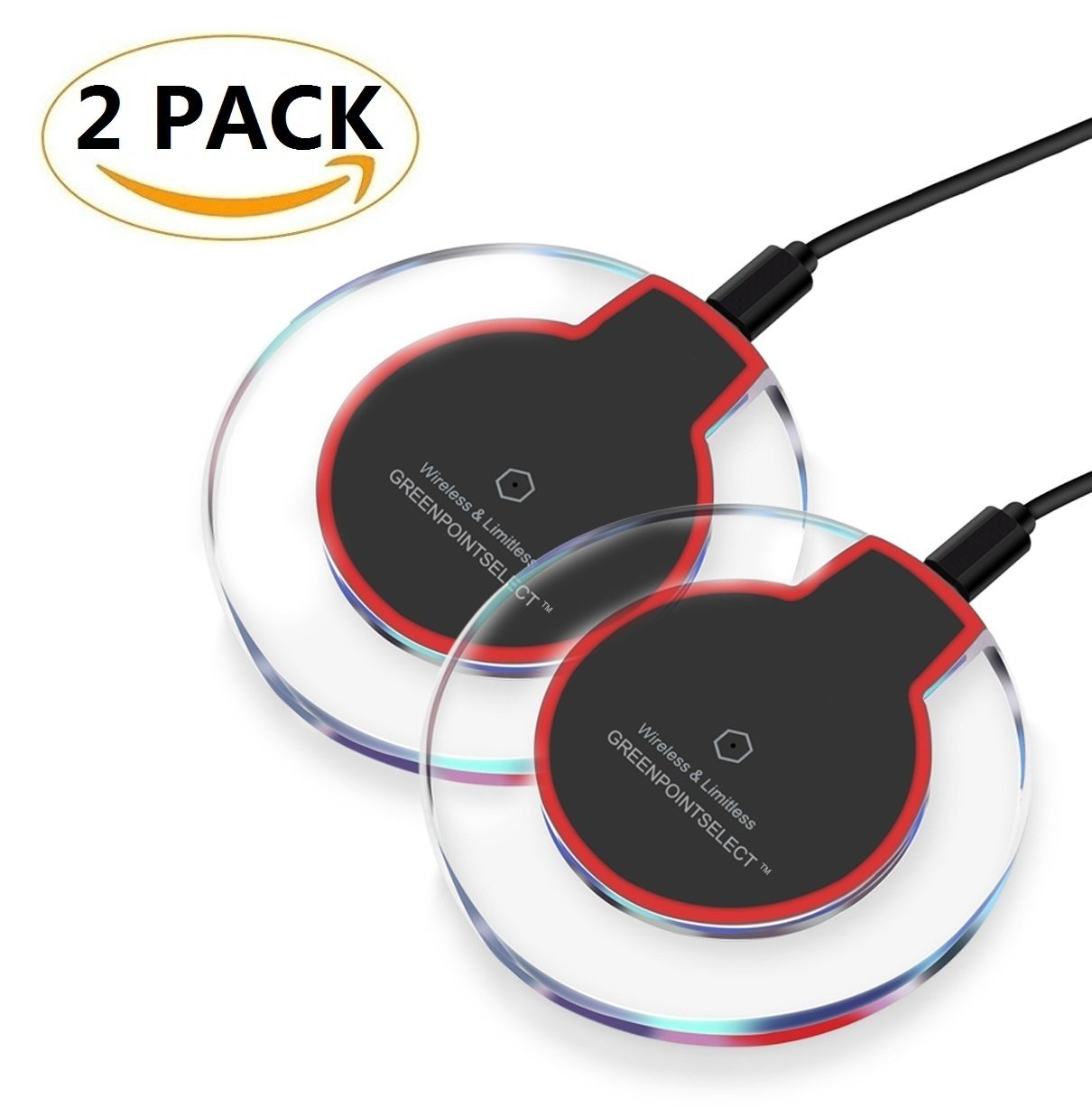 New Version GP Wireless Charger Charging Pad for iPhone 8 / 8 Plus, iPhone X, Galaxy Note 5, S7/S7 Edge/S6/S6 Edge/S6 Edge Plus, Nexus 4/5/6/7, LG G3 and Other Devices (2 Pack) Greenpointselect Technology