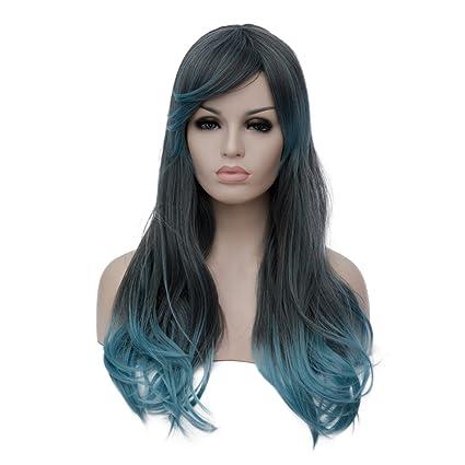 priomix largo rizado ondulado peluca Ombre para mujer disfraces de Halloween peluca + Free Cap