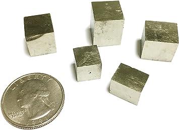 goldnuggetminer 5 Cubos de pirita Naturales pequeños – Hermosos especímenes minerales. - Fools Gold de España: Amazon.es: Juguetes y juegos