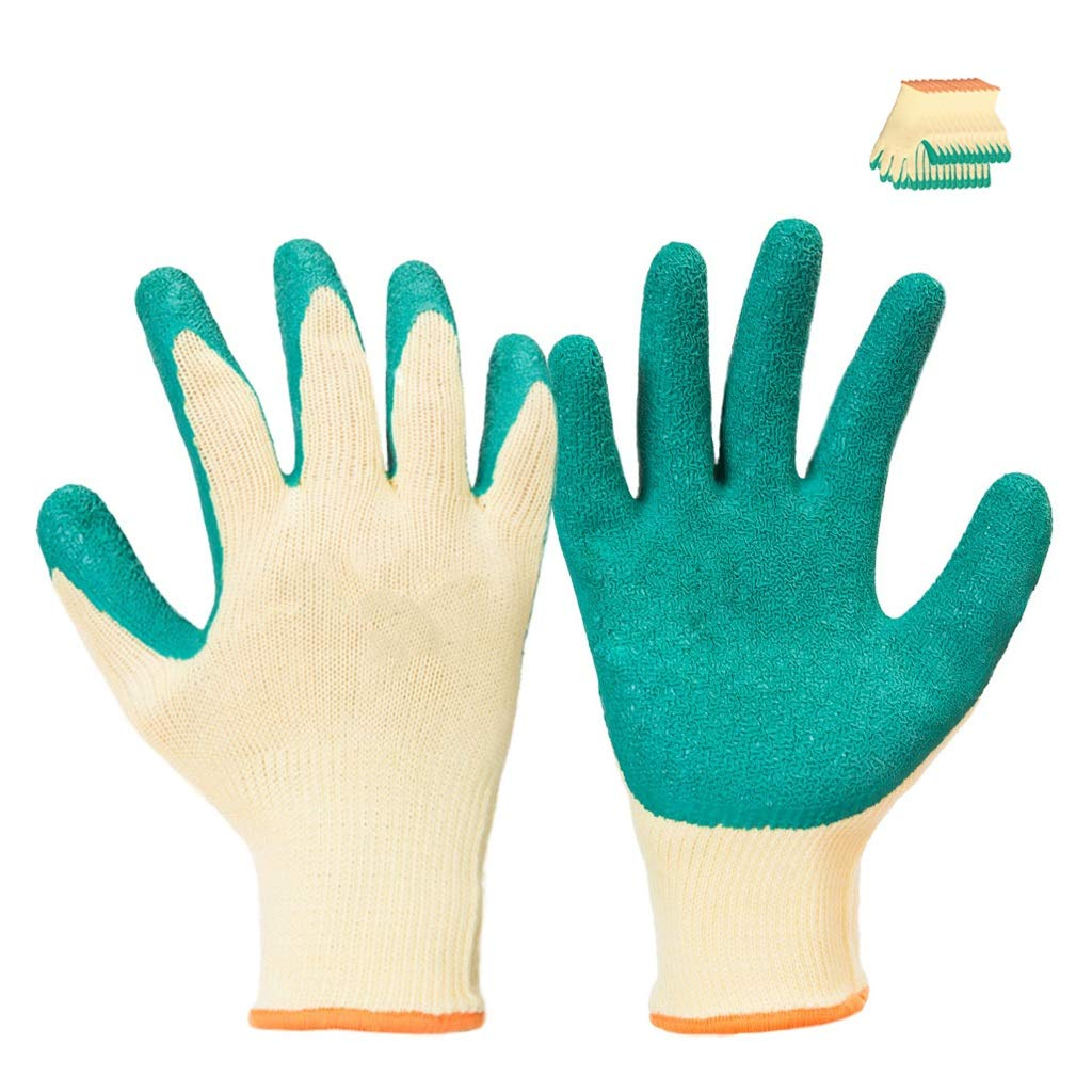 LZRZBH Work Gloves (12 Pairs Per Package) Comfortable Gardening Gloves Medium Size, Breathable Nylon Coated with Latex Textured