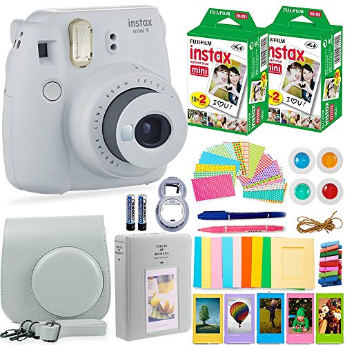 Fujifilm Instax Mini 9 Instant Camera + Fuji Instax Film (40 Sheets) + Accessories Bundle - Carrying Case, Color Filters, Photo Album, Stickers, Selfie Lens + MORE (Smokey White)