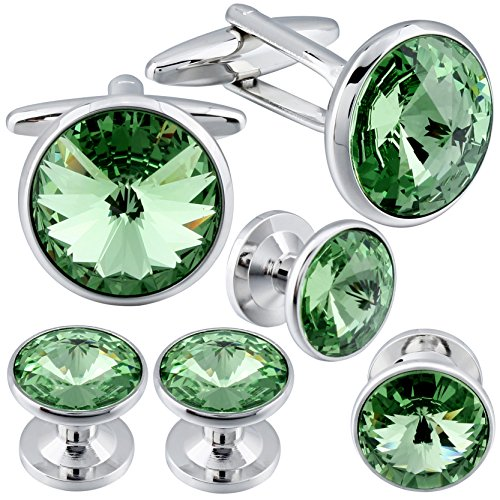 - HAWSON Cufflinks and Studs Tuxedo Set Silver Color with Swarovski Crystals in Green