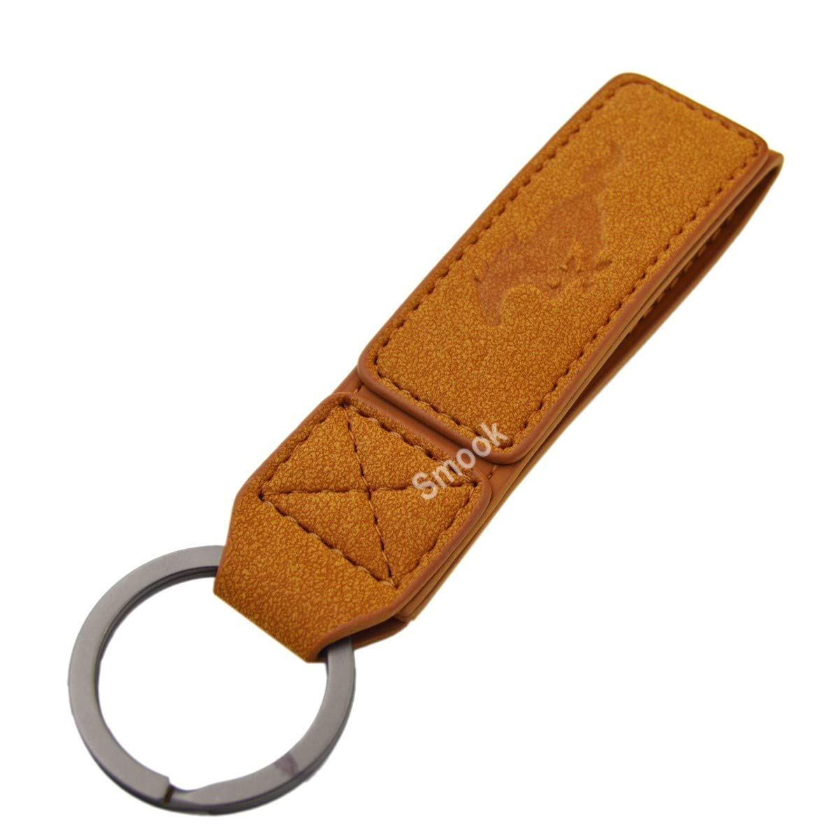 Luxury 2 Layer Real Nubuck Leather Pony Key Chain Ring for Mustang GT500 GT