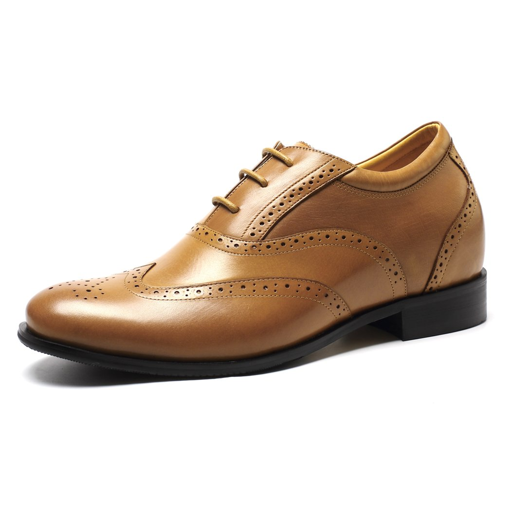 CHAMARIPA Braun Herren erhöhen Wingtip Oxford Casual Schnürhalbschuhe,7 cm erhöhen Herren - 218A01 84e957