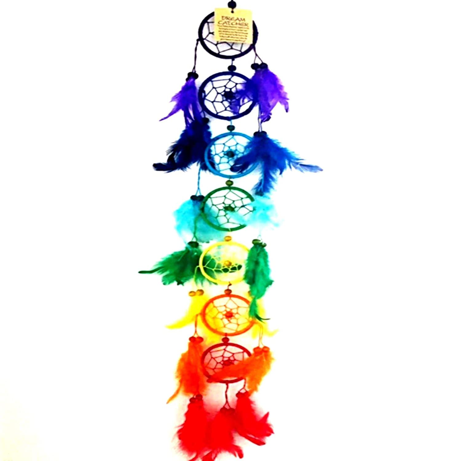 Big Long Large 7 Chakras Dreamcatchers Rainbow Multi Coloured Round Beaded Dream Catchers Beautiful Home Decor & Kids Room Wall Hanging Gift Party Bag Filler Idea Catch All Those Bad Dreams No More Sleepless Nights TPGSUK