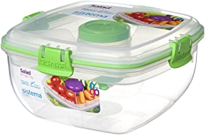Sistema To Go Collection Salad Compact Food Storage Container, 4.6 Cup, Color Varies | Great for Meal Prep | BPA Free, Reusable