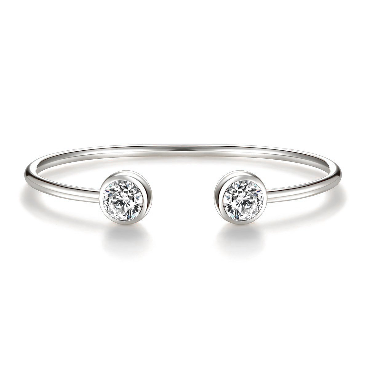 ISAACSONG.DESIGN Rose Gold Silver Tone Cuff Bangle Bracelet Zirconia Crystal Stone Jewelry for Women (white gold)