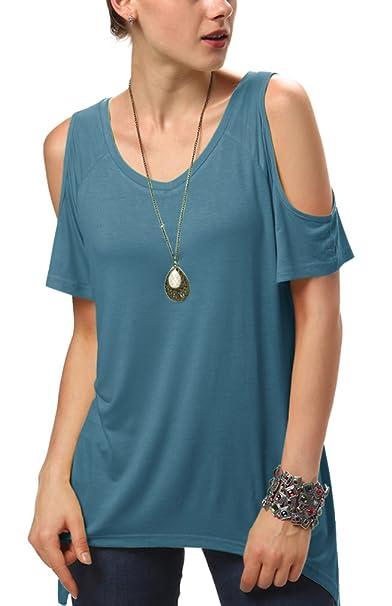 Urban GoCo Mujeres Casual Tallas Grandes Camiseta Slim Fit V Cuello Off Shoulder Túnica Tops Azul