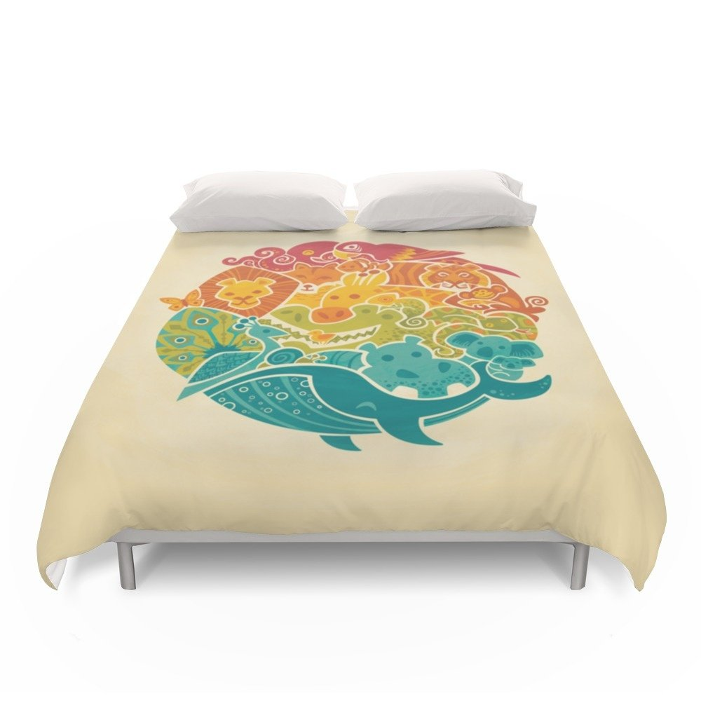 Society6 Animal Rainbow - Cream Duvet Covers Full: 79'' x 79''