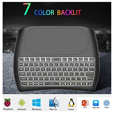 STRQUA D8 Mini Wireless Keyboard Touchpad Mouse with Colorful Backlit, Best  for Android Smart Tv Box HTPC IPTV PC Pad 7 Color Backlight Rechargeable
