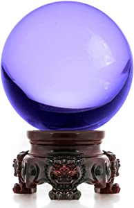 Amlong Crystal 3 inch (80mm) Purple Crystal Ball with Redwood Lion Resin Stand and Gift Box for Decorative Ball, Lensball Photography, Gazing Divination or Feng Shui, and Fortune Telling Ball