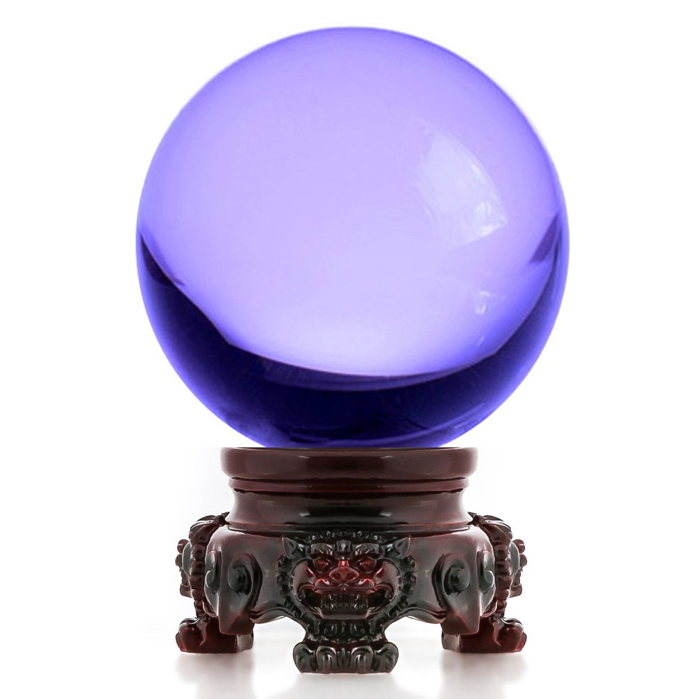 Amlong Crystal 3 inch (80mm) Purple Crystal Ball with Redwood Lion Resin Stand and Gift Box for Decorative Ball, Lensball Photography, Gazing Divination or Feng Shui, and Fortune Telling Ball by Amlong Crystal